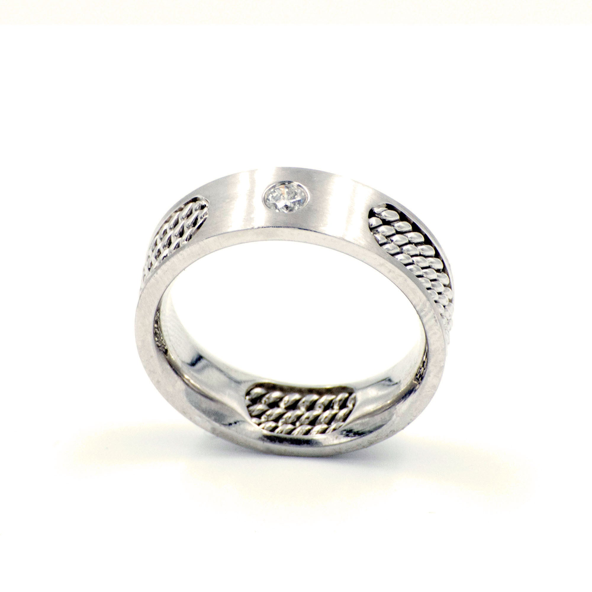 Men's Diamond 14k White Gold Wedding Band Eternity Style