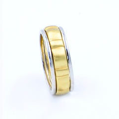 Men's  14k White and Yellow Gold Wedding Band Eternity Style