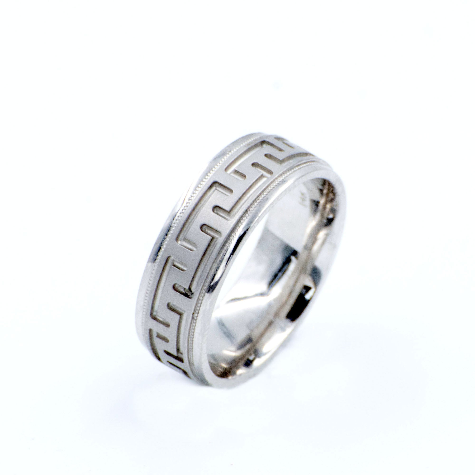 Men's  14k White Gold Wedding Band Eternity Style Greek Key Pattern