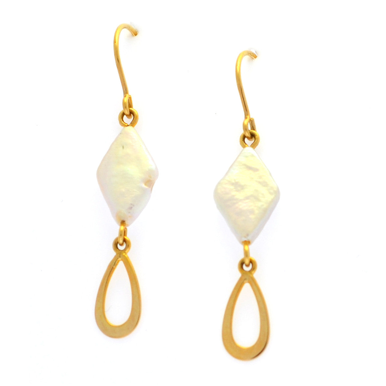 Freshwater pearl and yellow gold dangle earrings
