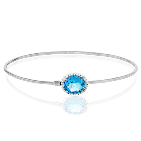 Zeghani White Gold Fashion Bangle with Blue Topaz and Pave Diamonds by Jewelry Designer Simon G