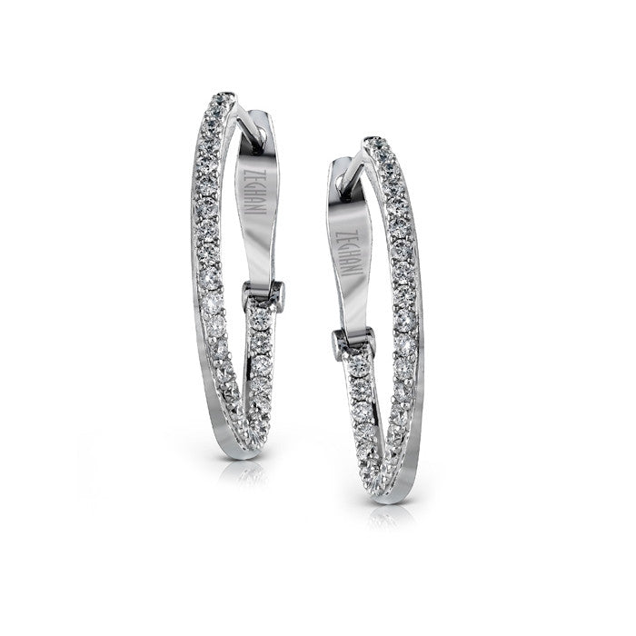 Zeghani Diamond Hoop Earrings in White Gold By Jewelry Designer Simon G
