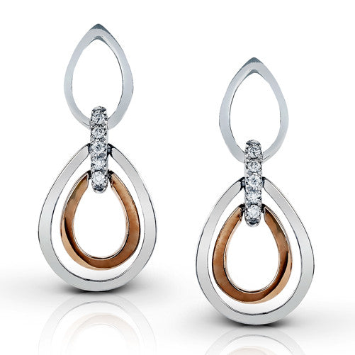 Zeghani White and Rose Gold Diamond Earrings by Jewelry Designer Simon G