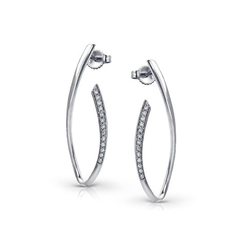 Non Traditional Zeghani White Gold Diamond Hoop Earrings by Jewelry Designer Simon G
