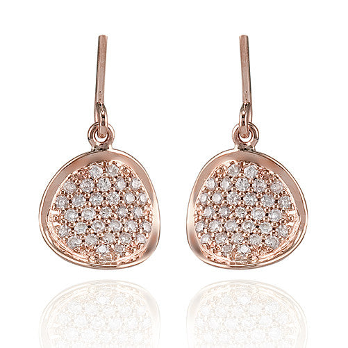 Zeghani Rose Gold Diamond Pave Drop Earrings by Jewelry Designer Simon G