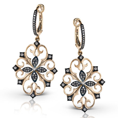 Simon G Rose Gold Medallion Earrings with Filigree and Diamonds