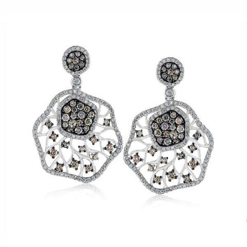 Zeghani Diamond White and Black Gold Earrings with Filigree by Simon G
