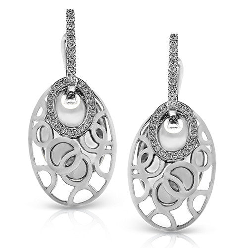 White Gold Zeghani Drop Diamond Earrings by Jewelry Designer Simon G