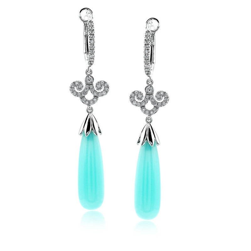 Zeghani Chalcedony and Diamonds 14k White Gold Earrings by jewelry designer Simon G