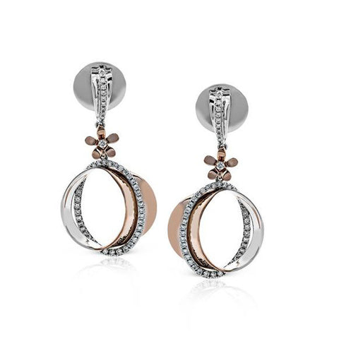 Zeghani Diamond White and Rose Gold Earrings