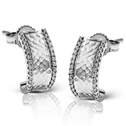 Zeghani Diamond Semi Hoop Earrings