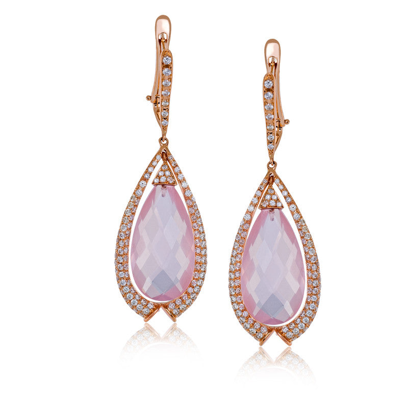 Zeghani Rose Quartz and Diamonds 14k Rose Gold Earrings by Simon G