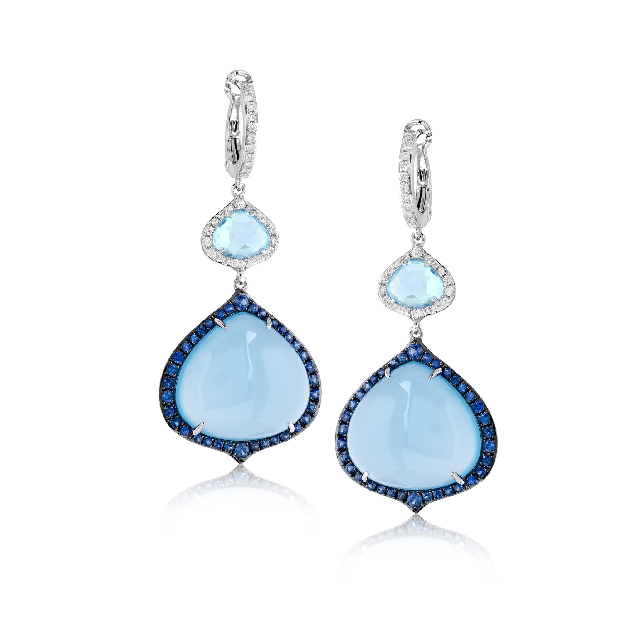 Zeghani Blue Chalcedony, Diamonds, and Sapphires 14k White Gold Earrings
