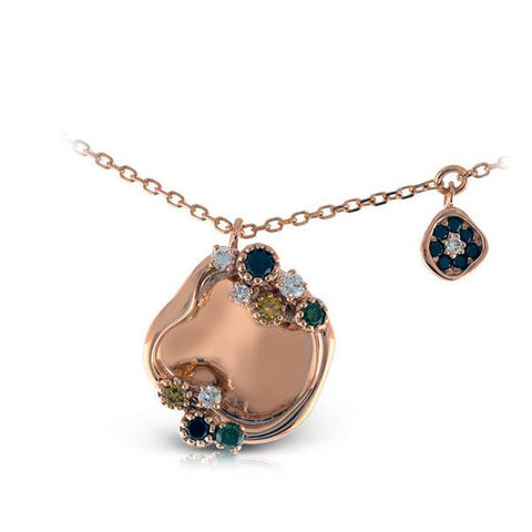 Zeghani Color Diamonds 14k Rose Gold Pendant