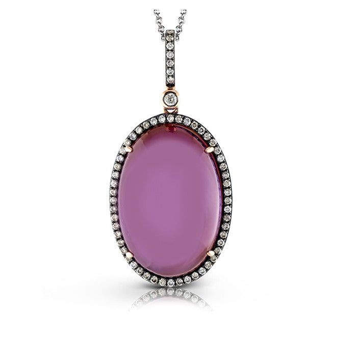 Zeghani Amethyst, Mother of Pearl and Pave Diamonds Pendant by Simon G