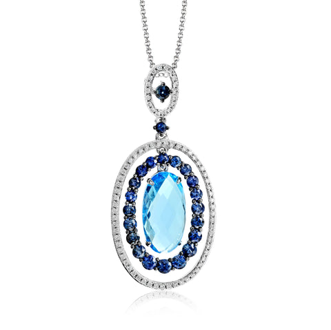 Zeghani Blue Topaz, Sapphires and Diamonds 14k White Gold Pendant