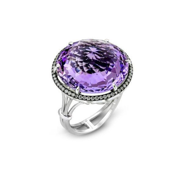 Zeghani Amethyst and Diamonds Black and White Gold Fashion Ring by Simon G