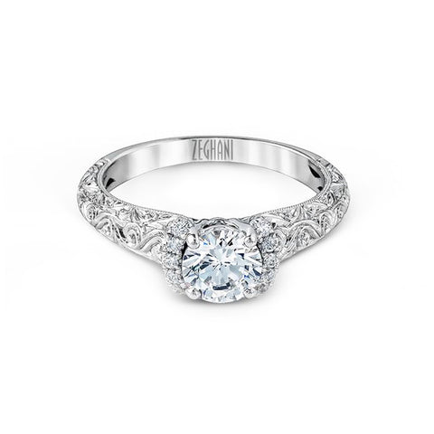 Ladies' Engraved 14k White Gold Engagement Mounting by Simon G