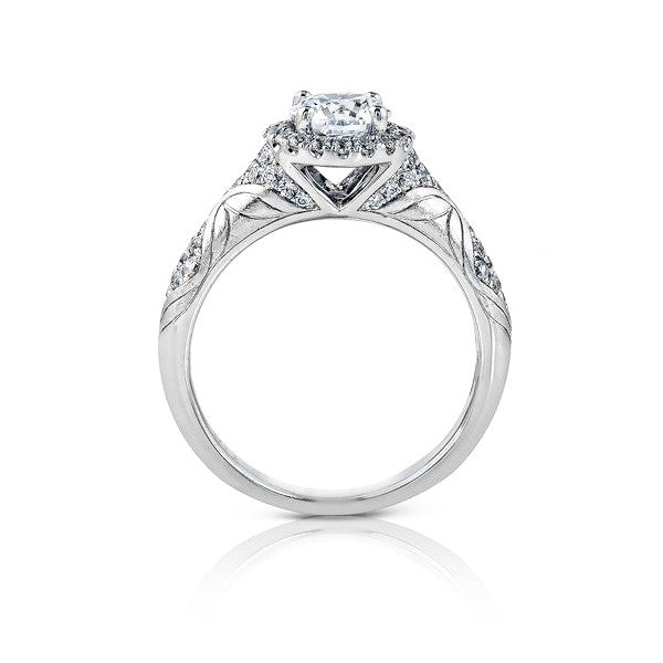 Ladies' Etched 14k White Gold Engagement Mounting by Simon G
