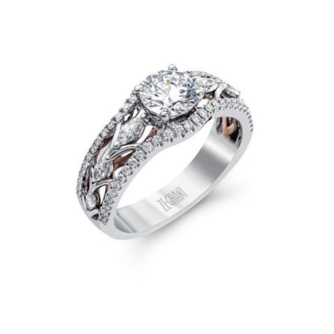 Ladies' 14k White and Rose Gold Engagement Mounting by Simon G