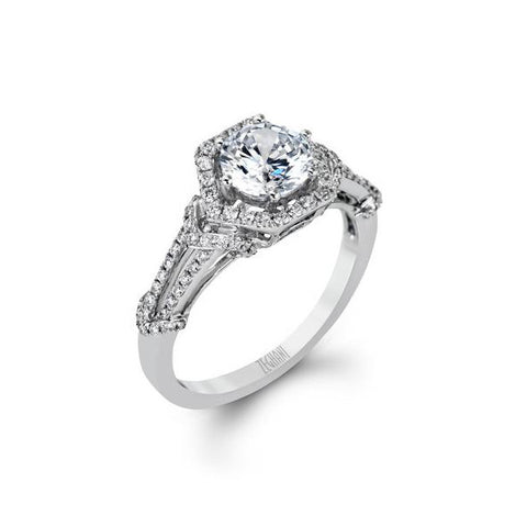 Ladies' Hexagonal 14k White Godl Engagement Mounting by Simon G