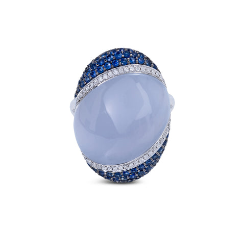 Zeghani Chalcedony, Sapphires and Diamonds 14k White Gold Fashion Ring