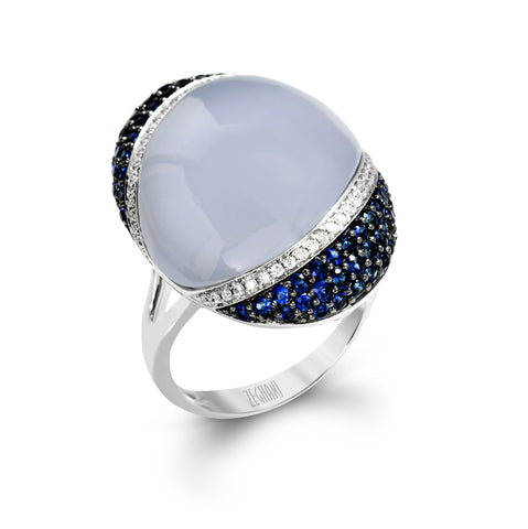 Zeghani Chalcedony, Sapphires and Diamonds 14k White Gold Fashion Ring by jewelry designer Simon G
