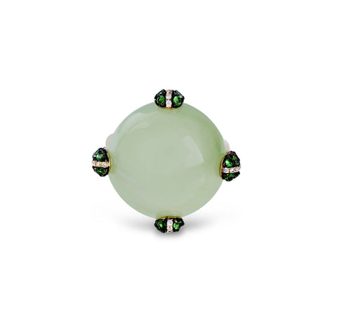 Green Chalcedony, Tsavorite Garnet and Diamonds Fashion Ring in 14k Yellow Gold Zeghani by Simon G