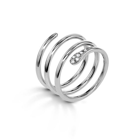 Zeghani Spiral Diamond Fashion Ring in White Gold By Jewelry Designer Simon G