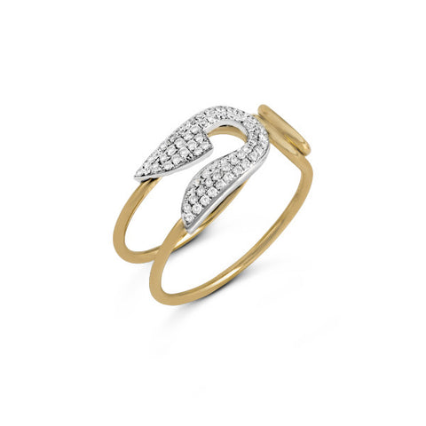 Zeghani White and Rose Gold Diamond Ring by Jewelry Designer Simon G
