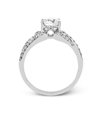 14k White Gold Pave and Filigree Engagement Ring Mounting from Zeghani by Simon G