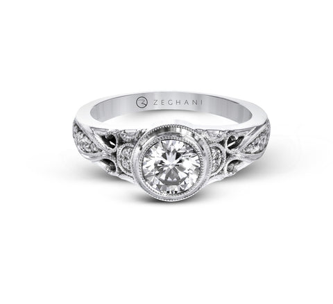 White Gold Pave and Filigree Engagement Ring Mounting from Zeghani by Simon G