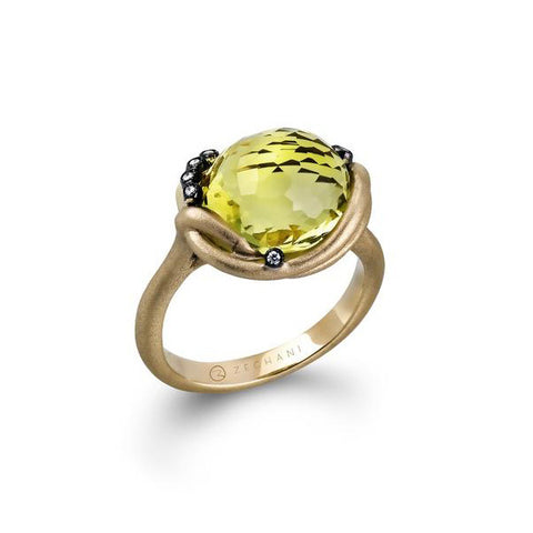 Zeghani Lemon Quartz and Diamonds 14k Yellow and Black Gold Fashion Ring