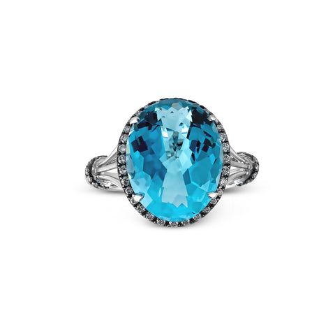 Pave Diamond and Sky Blue Topaz Ring in 14k White and Black Gold