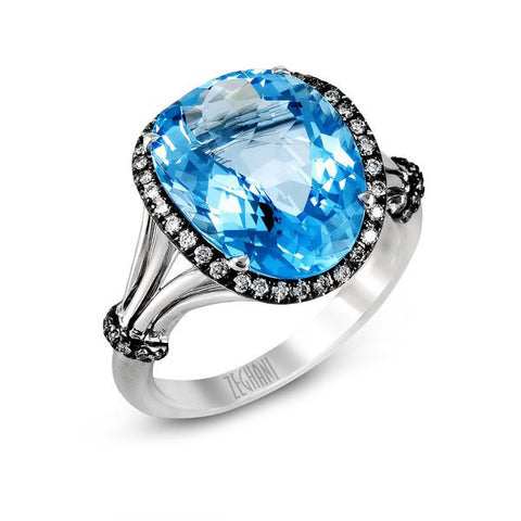 Pave Diamond and Sky Blue Topaz Ring in White and Black Gold by Simon G
