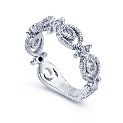 Anniversary White Gold Diamond Band with Open Scallops