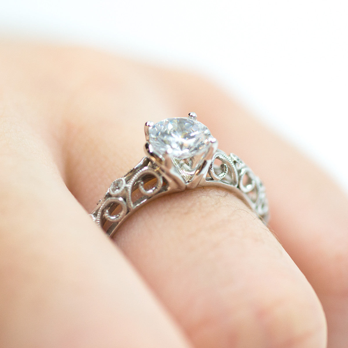 Ladies FIligree  White Gold Engagement Mounting by Simon G
