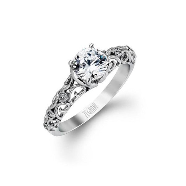 Ladies' FIligree 14k White Gold Engagement Mounting by Simon G