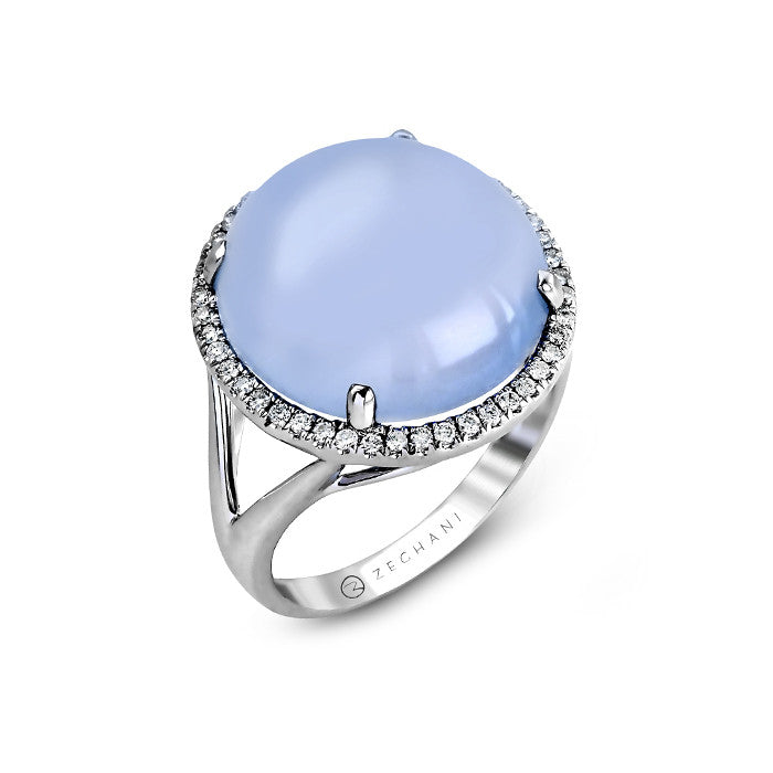 Zeghani Blue Chalcedony and Diamonds Ring in White Gold by Simon G