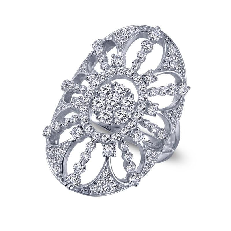 Pave ring with simulated diamonds in sterling silver bonded with platinum by Lafonn