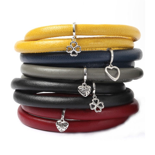 Endless Personalized Collection Leather Bracelet in trendy Black Color with Sterling Silver Clasp