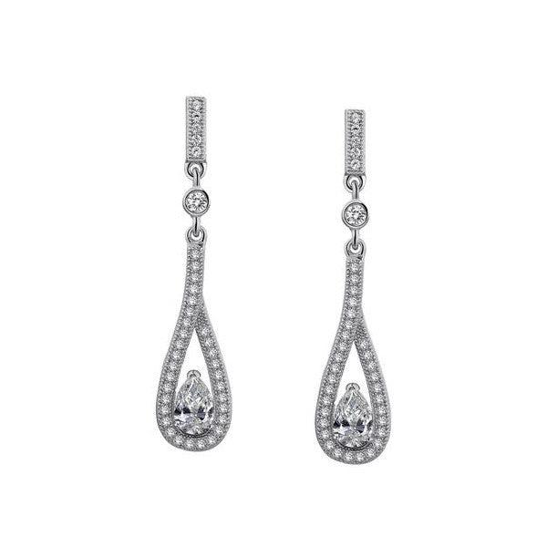 Sterling Silver and Platinum Drop Earrings