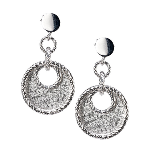 Sterling Silver Circle Drop Earrings by Jewelry Designer Frederic Duclos