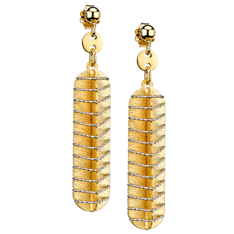 Silver and yellow gold drop earrings