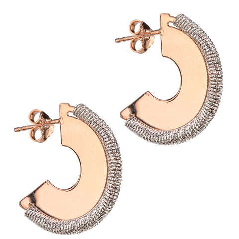 Rose gold and sterling silver solid hoop fashion earrings