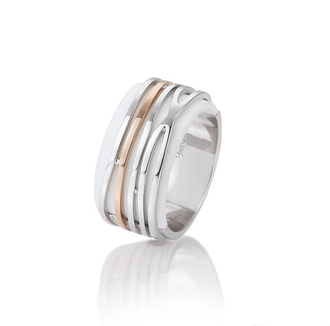 Sterling silver ring with rose gold accents and white agate base by Breuning