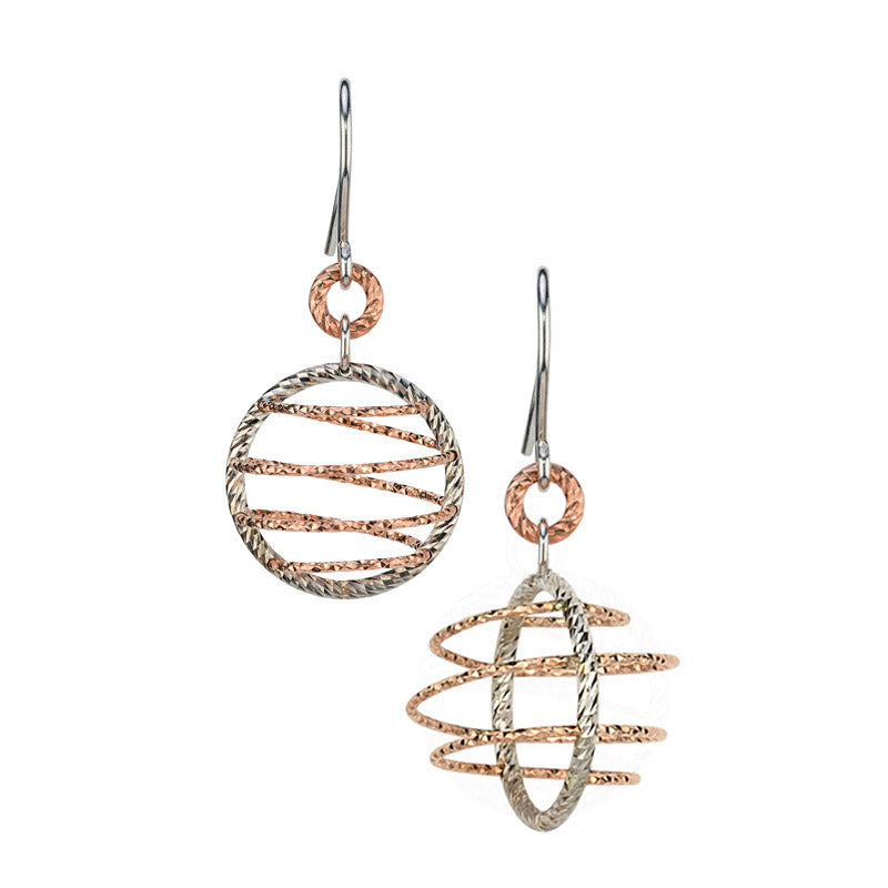 Sterling Silver and Rose Gold Vermail Double Orbit Earrings