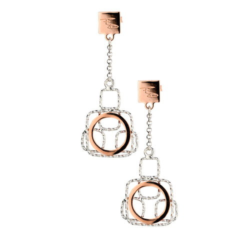 Sterling Silver and Rose Gold Geometric Fashion Earrings by Frederic Duclos