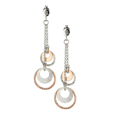 Fashion Drop Earrings in Sterling Silver and Rose Gold by jewelry designer Frederic Duclos