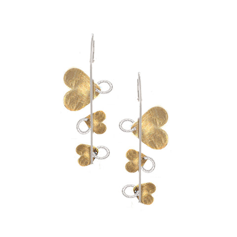Sterling Silver and Yellow Gold Hearts Earrings by Jewelry Designer Frederic Duclos
